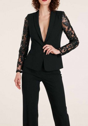Blazer with lace sleeves, black