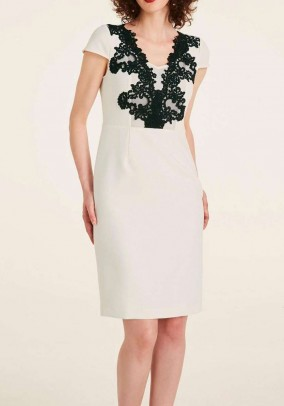 Lace dress, offwhite-black