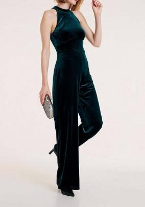 Velvet jumpsuit, emerald