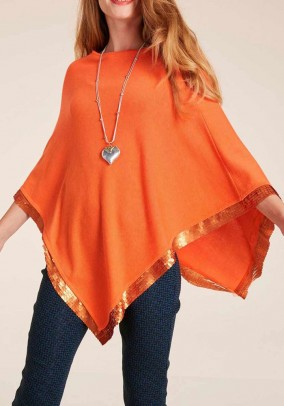 Knit poncho with sequins, orange