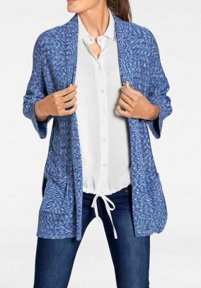 Long cardigan, blue-multicolour