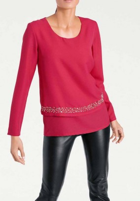 Blouse with beads, fuchsia