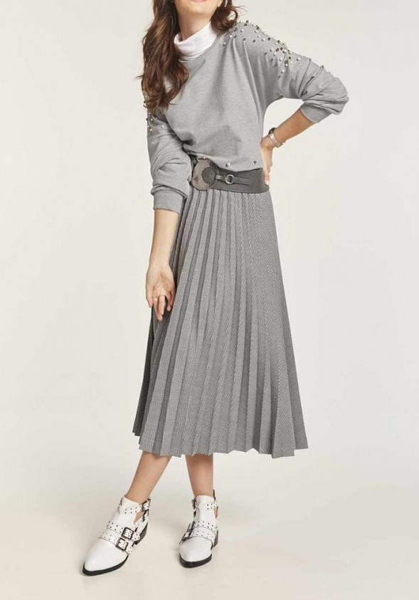 Pleat skirt, black-white