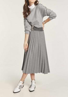 Midi ilgio klostuotas pilkas sijonas