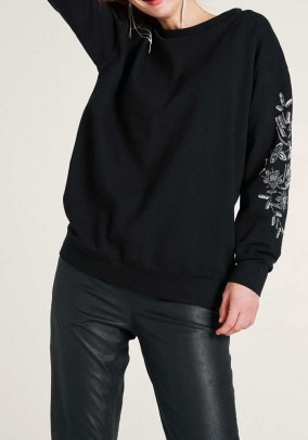 Sweater with bead embroidery, black