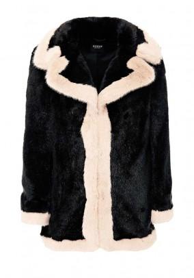 Reversible weave fur coat, black-powder