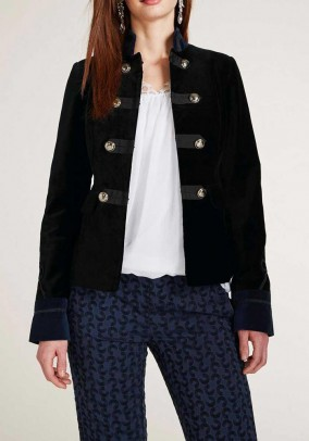 Velvet blazer, black-navy