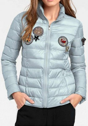 Quilt jacket with patches, ice blue