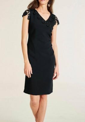 Sheath dress with lace, black