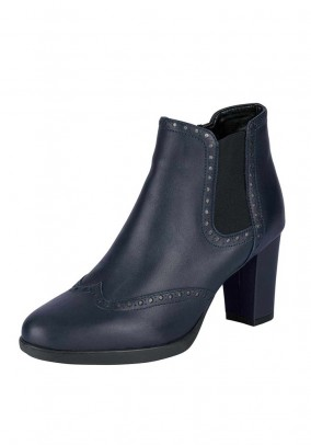 Leather bootie, navy