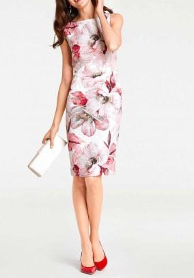Sheath dress, cream-red