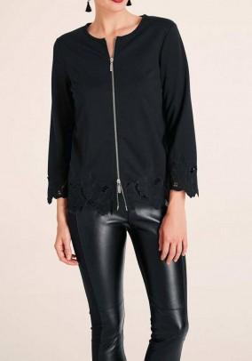 Jersey blazer with lace, black