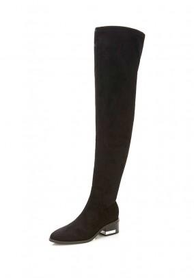 Velour imitation overknee boots, black