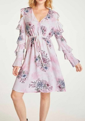 Print dress with cut-outs, multicolour