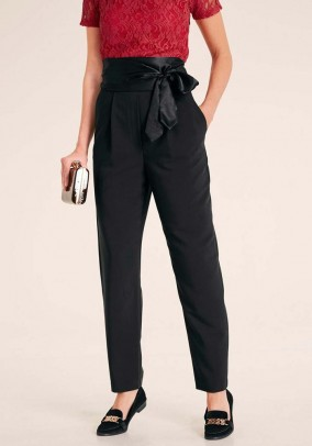 Trousers with satin belt, black