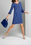 Print dress, royal blue - ecru