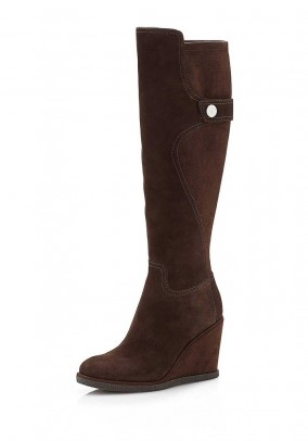 Wedge heel bootie, brown