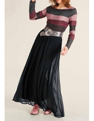 Pastelinis dryžuotas megztinis su vilna