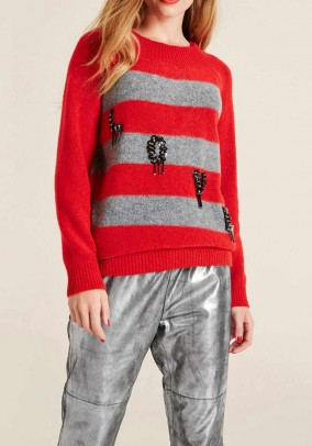 Long sweater, red-grey