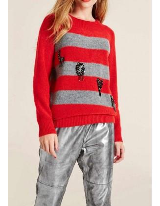 Ilgas raudonas dryžuotas megztinis