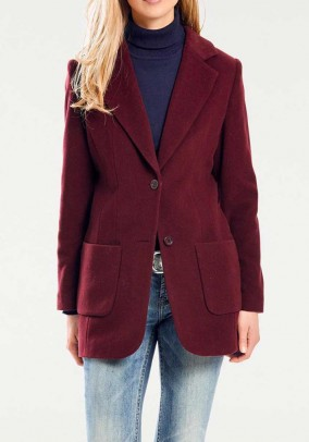 Wool fleece blazer with cashmere, bordeaux