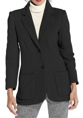 Wool fleece blazer with cashmere, black