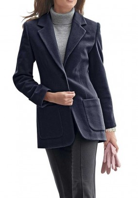 Wool fleece blazer with cashmere, navy