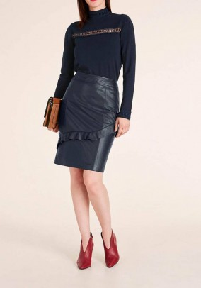 Lamb nappa leather skirt, navy