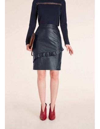 Tamsiai mėlynas natūralios odos sijonas