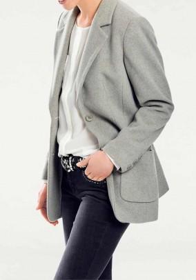 Wool fleece blazer with cashmere, grey