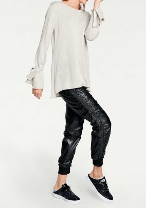 Lamb nappa leather trousers, black
