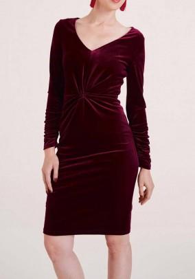 Aksominė bordo suknelė. Liko 36 ir 42 dydis