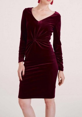 Aksominė bordo suknelė