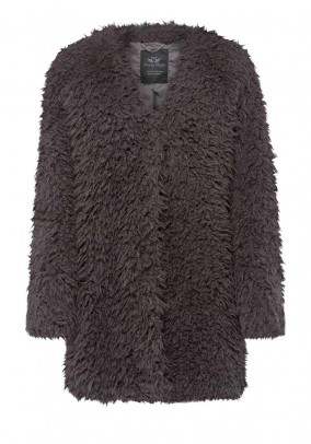 Weave fur jacket, grey