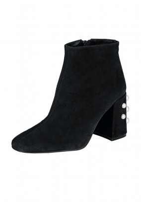 Velour bootie with beads, black