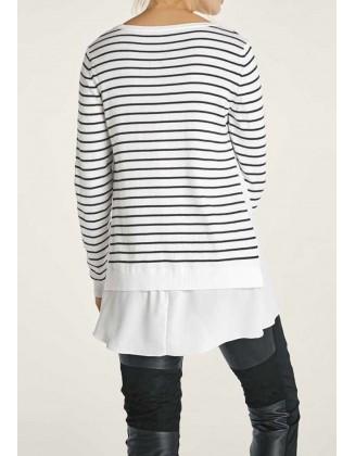 Baltas dryžuotas megztinis