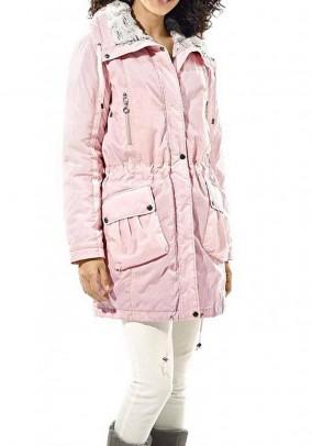 Parka with weave fur, rose