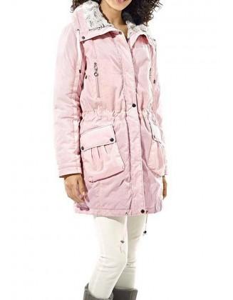 Rožinė striukė su kailiu