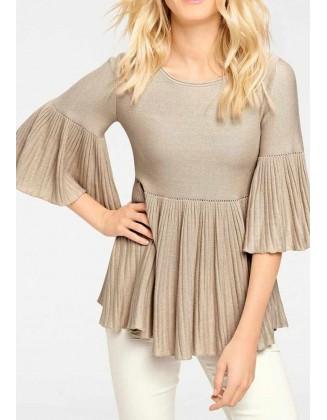 Smėlinis klostuotas megztinis