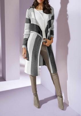 Long cardigan, grey-cream