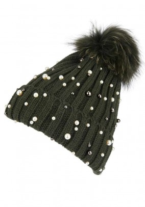 Designer knit cap with pearls, green