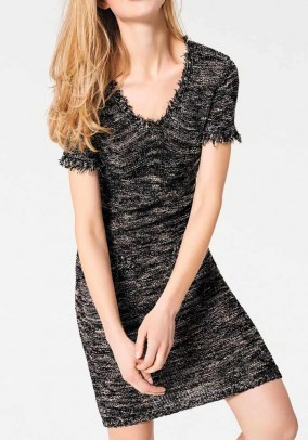 Knit dress with fringes, black-beige