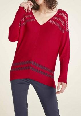 Raudonas plataus silueto megztinis