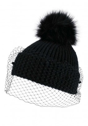 Knit hat with veil, black