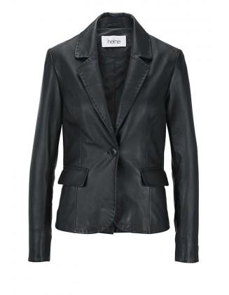 Klasikinis juodas odinis švarkas