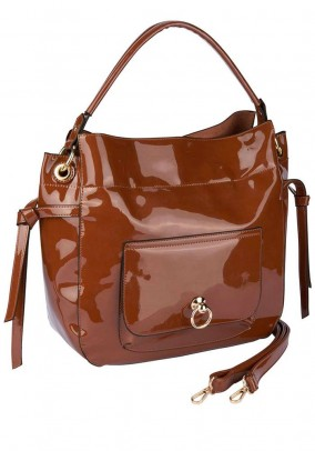 Patent leather bag, brown