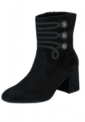 Velour leather bootie, black