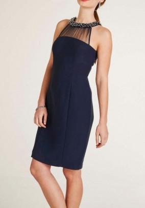Cocktail dress with beads, midnicht blue