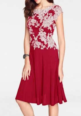 Knit dress, red-cream