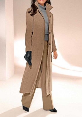 Wool fleece coat with cashmere, camel